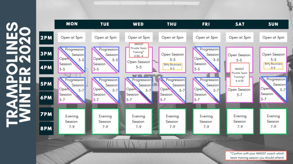 Mammoth trampolines schedule winter 2020